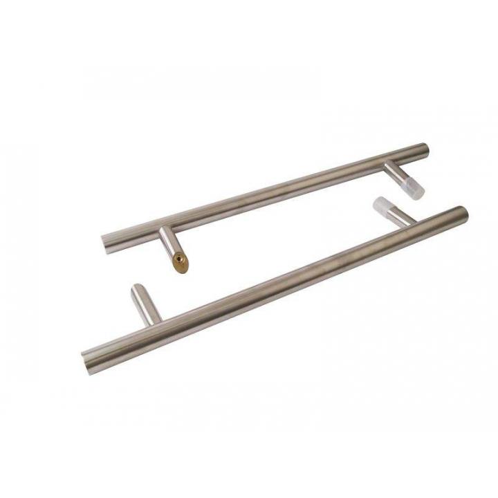 Ручка для алюминиевых дверей со смещением, комплект с креплением, L=500, межосевое расстояние=300, D=32, матовая