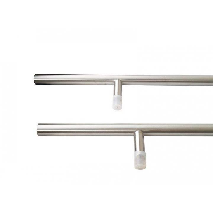 Ручка для алюминиевых дверей со смещением, комплект с креплением, L=1800, межосевое расстояние=1300, D=32, матовая