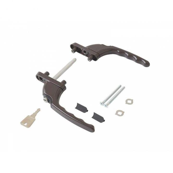Гарнитур балконный прямой с ключом с одной стороны, штифт 47 мм, (7 частей), коричневый