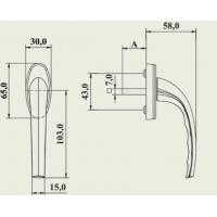 Ручка оконная Gera алюминиевая штифт 35 мм, 2 винта, белая
