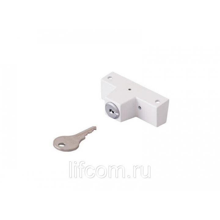Блокиратор поворота с цилиндром и ключом, белый (детский замок)