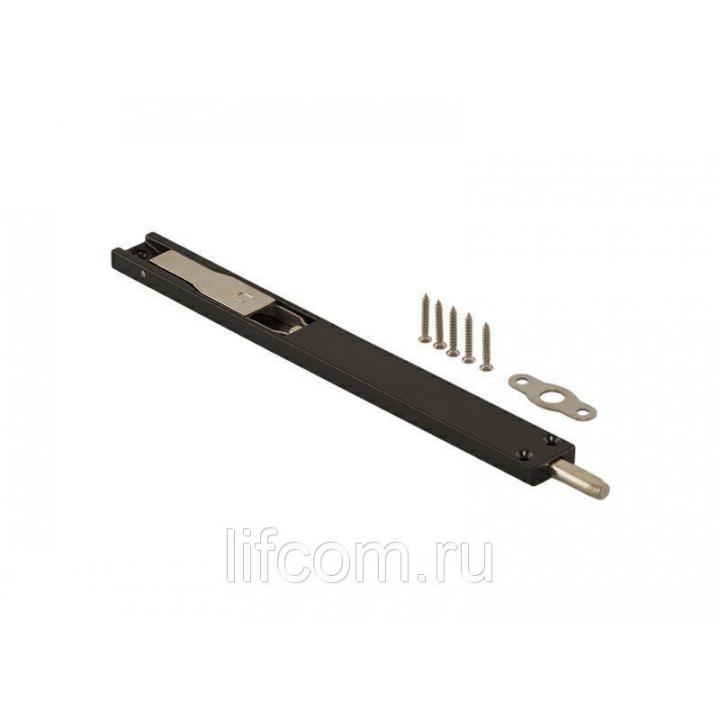 Комплект: шпингалет Elementis дверной накладной, ответная планка, саморезы, 220*22*8 мм, черный