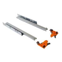 Комплект направляющих Push-to-Open скрытого монтажа Firmax 3D Control L=400мм, полного выдвижения, для ЛДСП 16мм, 3д регулировка (2 направляющие + 2 крепления)