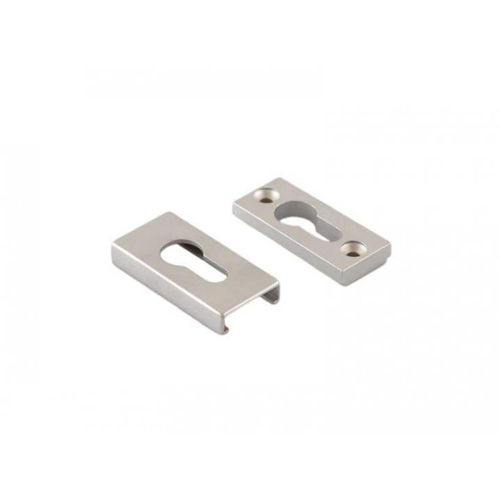 Накладка алюминиевая прямоугольная на профильный цилиндр,  серебристая