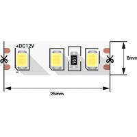 Лента светодиодная 2835/120, 12V, 5м, холодный белый 6000К, IP20, 9.6W/м